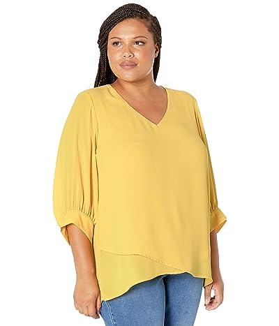 Karen Kane Plus Plus Size Blouson Sleeve Crossover Top (Daisy) Women