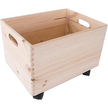 Caja de almacenamiento apilable de madera grande con asas y ruedas ...