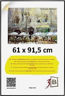 3B ALU Poster Brushed - 61x91,5 cm (ca. 24x36) with styrene Glass - Black Matt - Aluminium Poster Frame