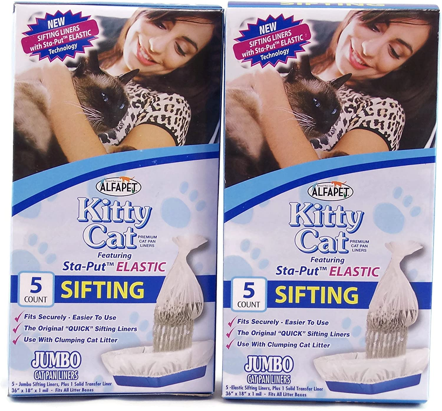 Alfapet Kitty Cat Staput Elastic Sifting Litter Box Liners Jumbo Size 5 Count (2Pack Boxes) by Alfa Pet