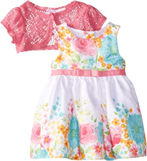 4067aca6a4cd Youngland Baby Girls' Two Piece Floral Shantung Dress and Lace Shrug Set