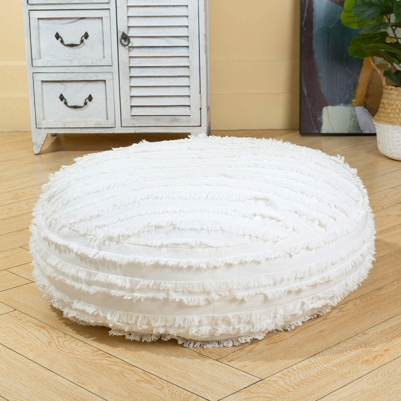 HIGOGOGO Tulsa Mall Large Boho Stripe Floor Cotton Cushion Linen Round 24