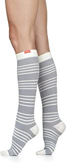 VIM & VIGR Women's 15-20 mmHg Compression Socks: Fresh Stripe - Grey & Cream (Nylon)