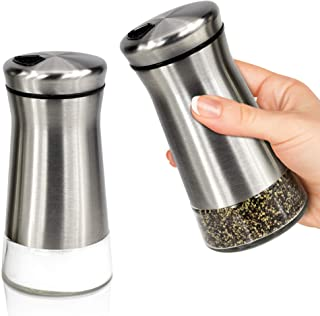Elegant Salt and Pepper Shakers With Adjustable Pour Holes - Perfect Dispenser Set for your Salts