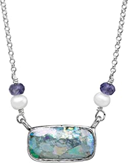 Pons Drusi' 4-4.5 mm Freshwater Cultured Pearl & Roman Glass & Natural Iolite Necklace in Sterling Silver