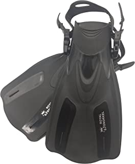 Adult Travel Short Fins for Snorkeling Scuba and Free Diving - Adjustable Lightweight and Flexible - Open Heel Design - for Men and Women