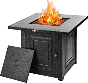 Gas Propane Fire Pit Table, SNAN 28 Inch 2021 Upgrade, Outdoor Companion, Auto-Ignition, Advanced Texture Black Strong Steel Surface, Adjustable Flame, CSA Certification, for Garden/Patio/Courtyard