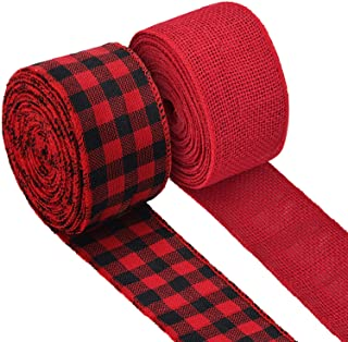 2 Rolls Burlap Wired Ribbon Weave Ribbon with Wired Edge for Christmas Crafts Floral Bows Craft Decoration (Red and Buffal...