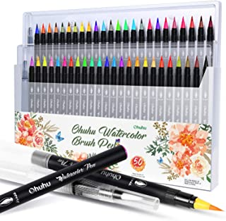 Watercolor Brush Markers Pen, Ohuhu 48 Colors with 2 Aqua Brushes Pen,Water Based Drawing Marker Brushes W/A Water Colorin...