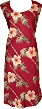 product image for Paradise Found Womens Bamboo Hibiscus Short Tank Dress Burgundy RED XL