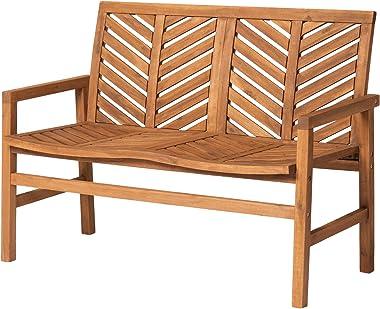 Walker Edison AZW48VINLSBR Outdoor Patio Wood Chevron Loveseat Chair All Weather Backyard Conversation Garden Poolside Balcon