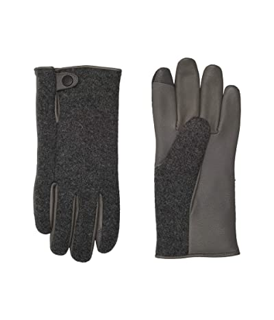 UGG Snap Tab Fabric Tech Gloves with Sherpa Lining (Charcoal) Extreme Cold Weather Gloves