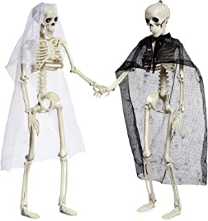 Joyjoz 2 Pcs Halloween Skeletons, Full Body Posable Joints Skeletons for Halloween..