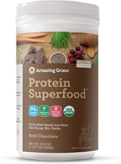 Amazing Grass Protein Superfood: Organic Vegan Protein Powder, Plant Based Meal Replacement Shake with 2 servings of Fruits and Veggies, Rich Chocolate Flavor, 18 Servings, 22.9 Ounce