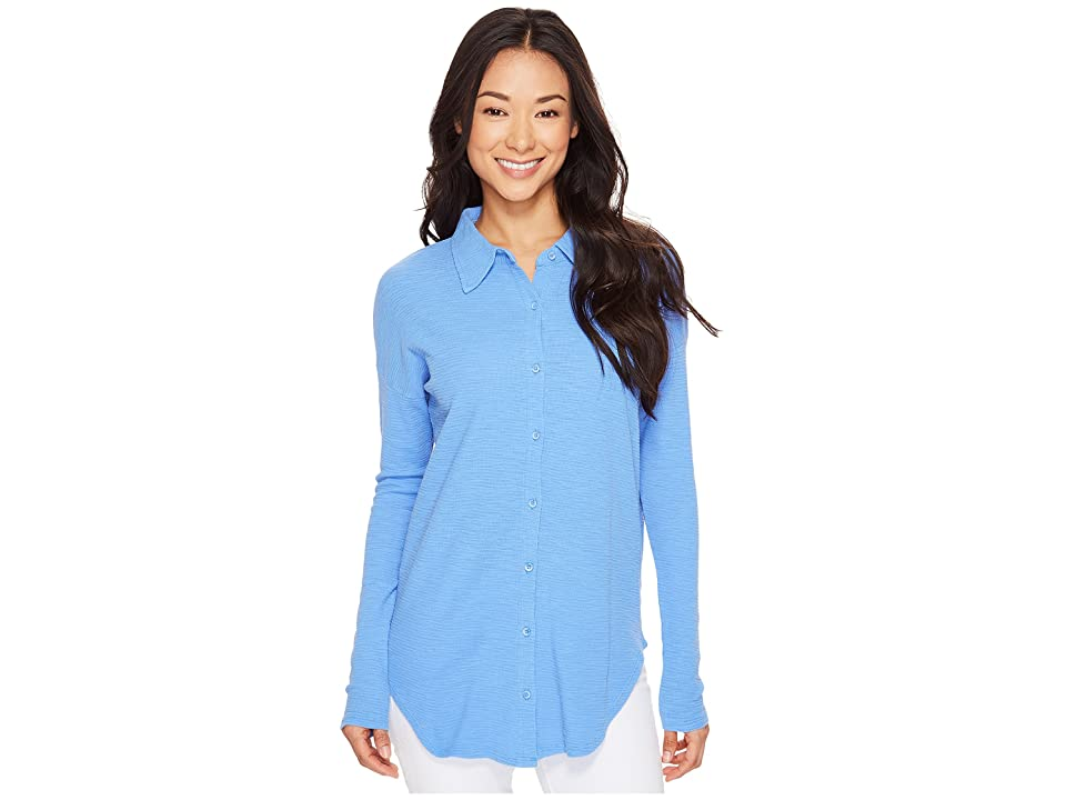 Mod-o-doc Textured Slub Stripe Back Crossover Button Front Shirt (Peri) Women