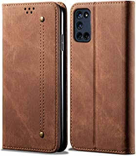 OPPO A52 Case, EabHulie Retro Denim Leather Flip Wallet Stand Case Cover for OPPO A52 / A72 / A92 Brown