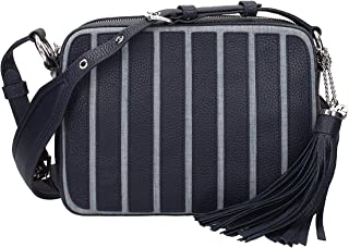 Brooklyn Large Leather Applique Camera Bag in Washed Denim