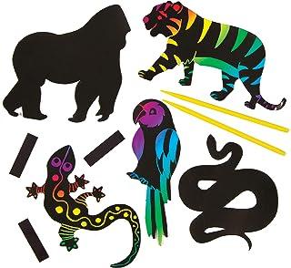 Baker Ross Aimants Animaux de la Jungle à gratter (Lot de 12) - Loisirs créatifs pour Enfants