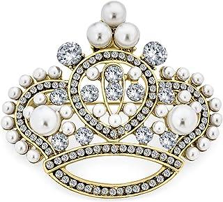 Bling Jewelry Grande Dichiarazione Moda Bianco Cristallo simulato Perla Matrimonio Regina Principessa Spilla Spilla per Do...