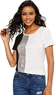 SOLY HUX Women's Color Block Leopard Print Top Short Sleeve Casual Tee