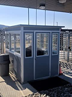 Prefabricated 8' x 10' Security Guard Shack/Ticket Booth/Parking Attendant Kiosk - Economy Model with Swinging Door