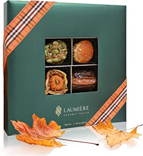 The Gourmet Fruits Fall Gift | Square Box (16 Pieces) | Limited Edition Assortment | Fall Inspired Treats, Miniatures, Candies and Pumpkin Spiced Recipes | Handcrafted by Laumiere