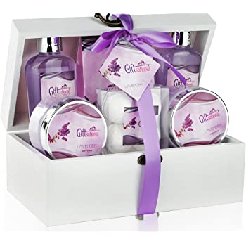 Spa Gift Basket with Sensual Lavender Fragrance, Best Mother's Day, Birthday, Wedding, or Anniversary Gift for Women, Girls, Bath Set Includes Shower Gel, Bubble Bath, Bath Salts, Bath Bombs and More
