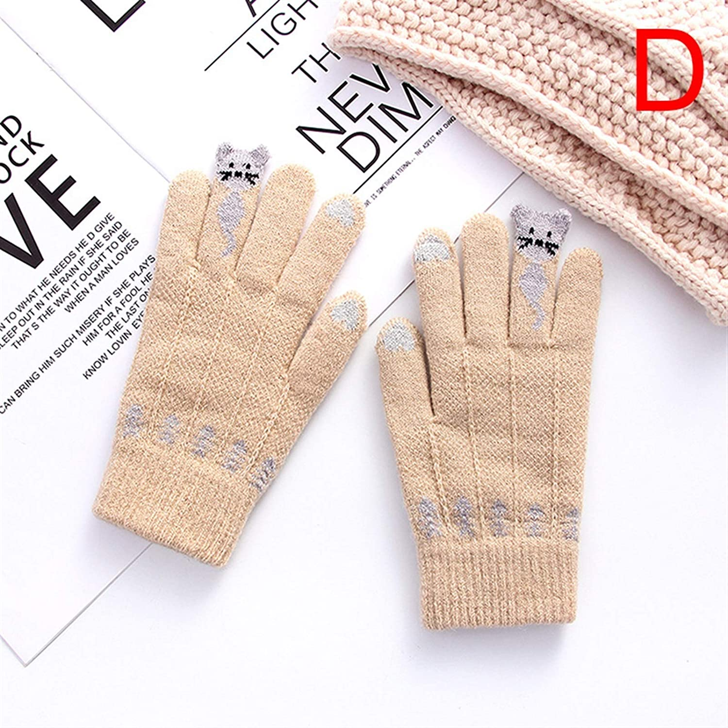 FSJIANGYUE Winter Gloves Winter Touch Screen Gloves Women Men Warm Stretch Knit Mittens Imitation Wool Full Finger Guantes Female Crochet Thicken (Color : D) (Color : D, Size : -)