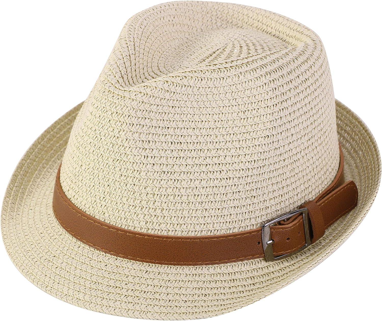 Verabella Men Women's Summer Straw Fedora Hat Short Brim Sun Hat