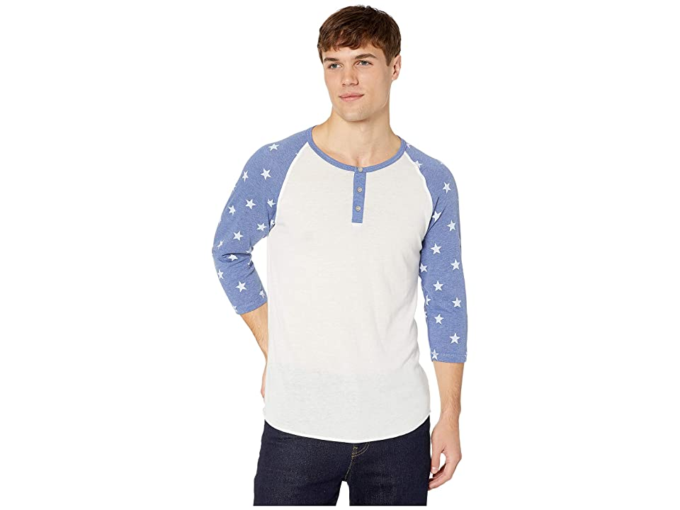Alternative Printed Eco-Jersey 3/4 Raglan (Eco Ivory & Pacific Blue Stars) Men