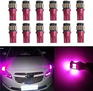 YaaGoo Compact Small bulb License Plate Lights Lamp,T10 168 194 2825 W5W,pink,12pcs