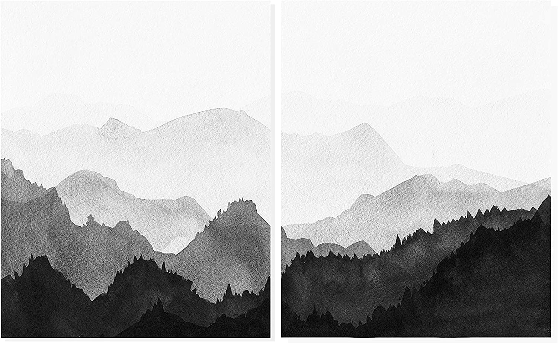 Minimalist Home Decor Moon Print Framed Landscape Poster Black White Nature Art Print Scandinavian Wall Art Marble Mountains