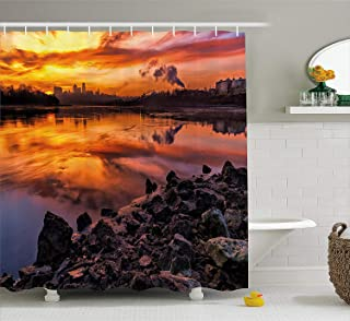 Printing Landscape Shower Curtain, USA Missouri Kansas City Scenery of a Sunset Lake Nature Camping Themed Art Photo, Waterproof Washable Printed Shower Curtain for Bathroom, 60 x 72 Inches