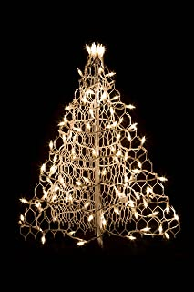 2' White Wire Crab Pot Christmas Tree with100 Clear Incandescent Mini Lights