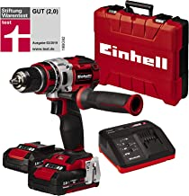Einhell Expert TE-CD 18 Li Kit- Taladro atornillador (batería de litio, 2.0 Ah, 18V, 2velocidades, 60Nm, luz LED, maletín, 500 rpm) rojo