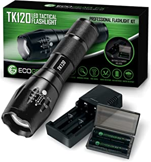 Complete LED Tactical Flashlight Kit - EcoGear FX TK120: High Lumens with 5 Light Modes, Water Resistant, Zoomable - Inclu...