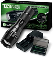 Complete LED Tactical Flashlight Kit - EcoGear FX TK120: Handheld Light with 5 Light Modes, Water Resistant, Zoomable - Includes Rechargeable Batteries and Battery Charger - Perfect Gift for Men