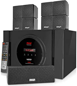 5.1 Channel Amplifier Speaker System - 300W Bluetooth Wireless Surround Sound Home Theater Audio Stereo Power Receiver Box Set w/Built-in Subwoofer, 5 Speakers, Remote, FM Radio, RCA - Pyle PT589BT.5