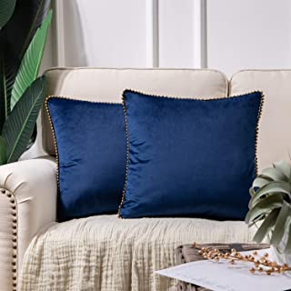 Phantoscope Decorative Set of 2 Soft Velvet Throw Pillow Cushion Cover Navy Blue with Solid Bronze Color Particles Trimmed...