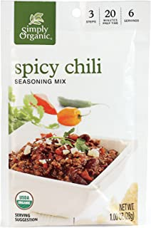 Simply Organic Spicy Chili, Seasoning Mix, Certified Organic, 1-Ounce Packets (Pack of 12)