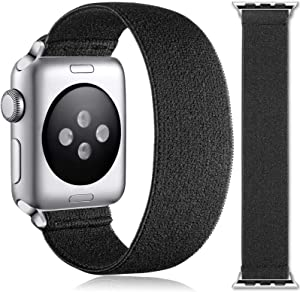 Muranne Stretchy Bands Compatible with Apple Watch SE 38mm 40mm for Women Men, Stylish Scrunchie Stretch Bracelet Loop Adjustable Elastic Band for iWatch Series 6 5 4 3 2 1, 38mm/40mm Small, Black
