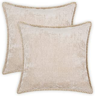 Farmhouse Decorative Throw Pillow Covers Set of 2 Trimmed Edge Velvet Cushion Cases for Couch Living Room, Light Tan, 16x1...