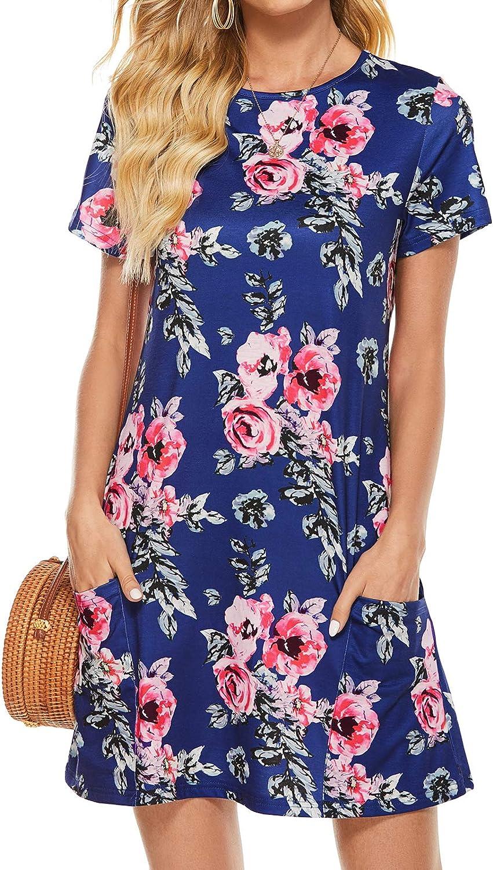 Lyrur Womens Crewneck Short Sleeve Loose Sundress Short Summer Flowy Casual T-Shirt Dresses with Pockets