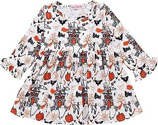 Toddler Baby Girl Dress Kid Infant Halloween Skirt Pumpkin Bat Cartoon Print Ghost Playwear All Saints' Day Sundress