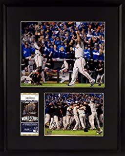 SF Giants 2014 World Series Game 7 Ticket Display (Featuring Buster Posey & Madison Bumgarner) Framed