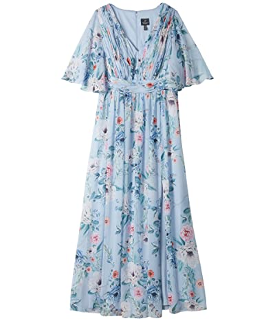 Adrianna Papell Plus Size Printed Floral Chiffon Gown (Glacier Multi) Women