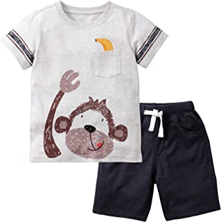 JOBAKIDS Baby Boys' Short Set Summer Outfit Cotton 2 Pieces Pant Set Short Sleeve Clothing Sets