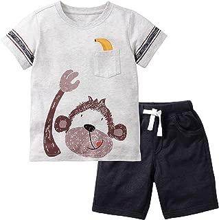 JOBAKIDS Baby Boys' Short Set Summer Outfit Cotton 2 Pieces Pant Set Short Sleeve Clothing Sets