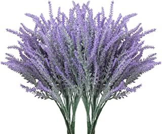 10 Bundles Fake Flowers Artificial Lavender Faux Plastic Plants for Home Decor Wedding..