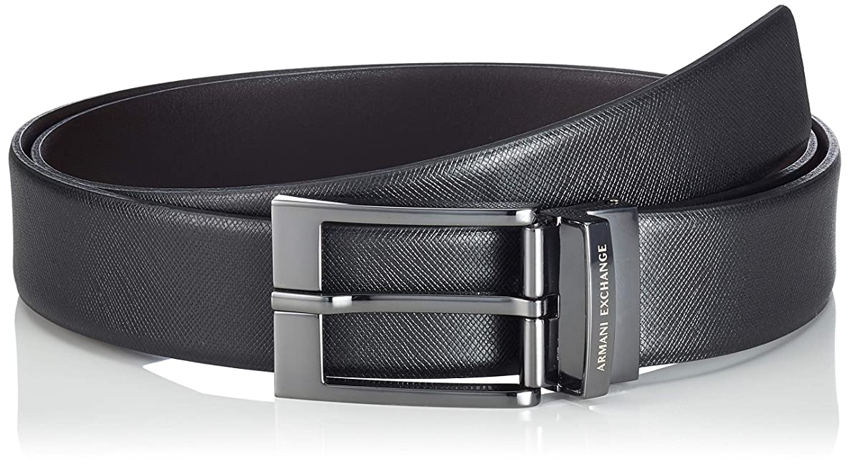 A|X Armani Exchange Men's Leather Belt With Plaque